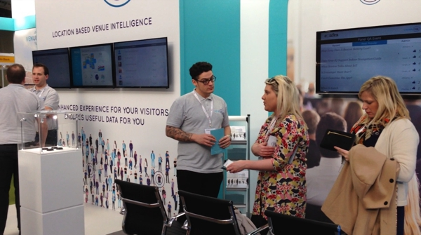 conversations on VenuIQ stand at Confex 2016 - - exhibition design by Awemous marketing