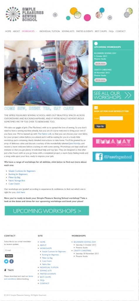 Simple Pleasures Sewing School workshops page