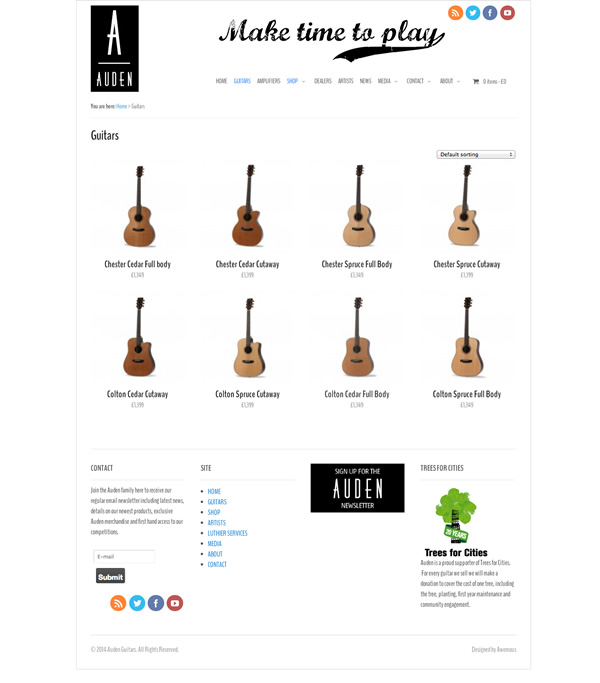 Auden Guitars screenshot of shop web pag