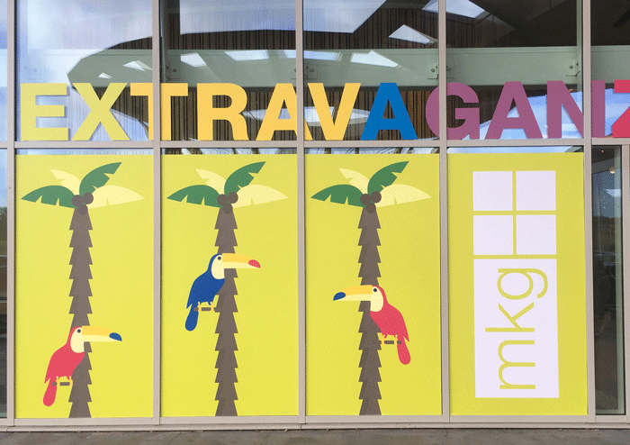 MKG Extravaganza 2016 window graphics at Hilton at St Georges Park hotel