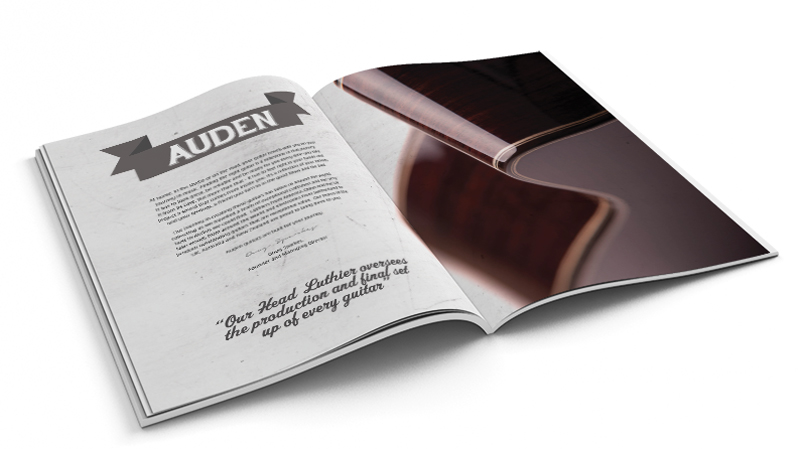 Auden Guitars brochure spread with Auden History shown