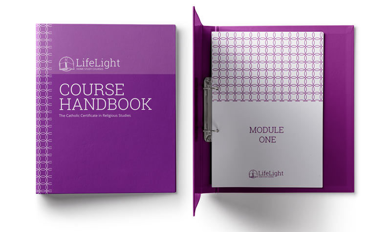 Life Light brand shown on course handbook folder
